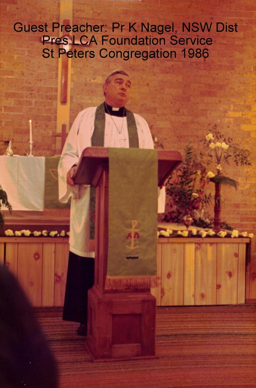 1986 Pr K Nagel Guest Preacher 3-8-1986