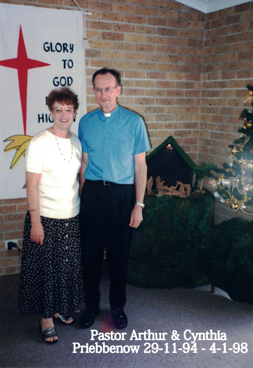 1994 Pastor Arthur and Cynthia Priebbenow 29-11-94 to 4-1-98